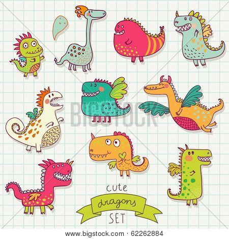 Funny cartoon dragon set in vector. Bright fantastic characters
