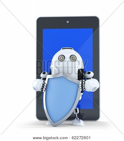Robot With Shiel In Front Of Tablet Conputer