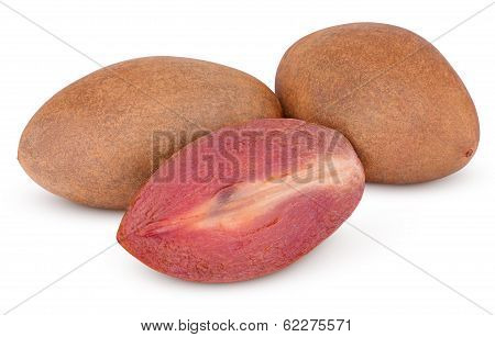 Fresh Sapodilla Plum With Cut On White