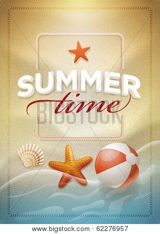 Summer message on beach sand. Vector summer concept design template. Elements are layered separately in vector file. Easy editable.