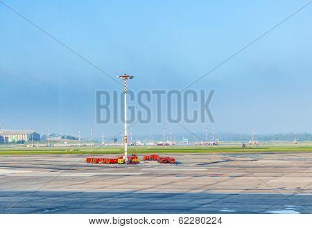 Communication And Light Mast At Apron Of Hamburg Airport In Hamburg, Germany