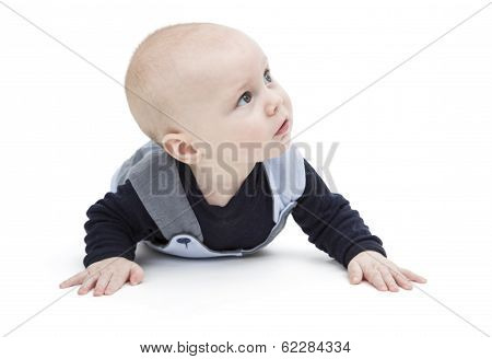 Nursling In Blue Clothing Isolated On White