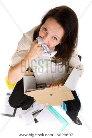Woman Eating Paper Sheet