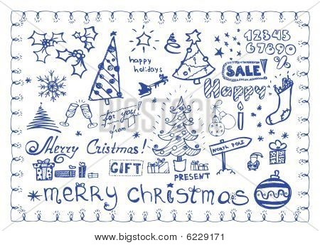 Christmas doodles / vector illustrations set