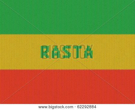 Rasta Background. Wicker rasta flag. Realistic vector. Eps10