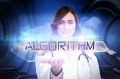 The word algorithm and portrait of female nurse holding out open palm against white cloud design on a futuristic structure poster