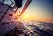 Sail boat with set up sails gliding in open sea at sunset poster