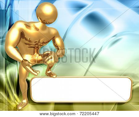 3D Presentation Concept Man Standing On A Sign