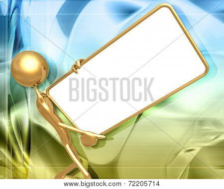 3D Presentation Concept Man Holding A Sign
