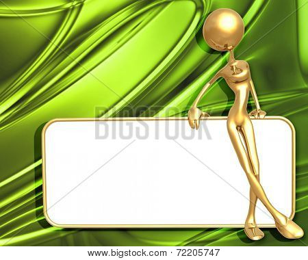 3D Presentation Concept Woman Holding On A Sign