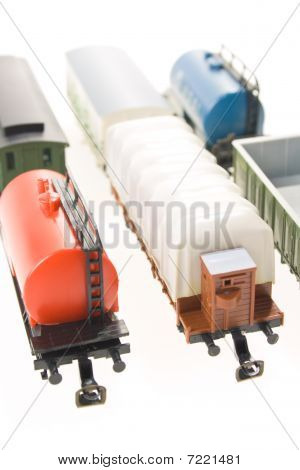 model of railway, model of car on a white background poster