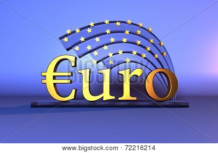 Gold Euro text - currency sign