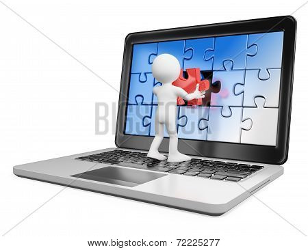 3D White People. Putting On A Laptop A Red Piece Missing