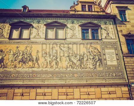 Fuerstenzug meaning Procession of Princes large mural of a mounted procession of the rulers of Saxony painted in 1871 in Dresden Germany poster