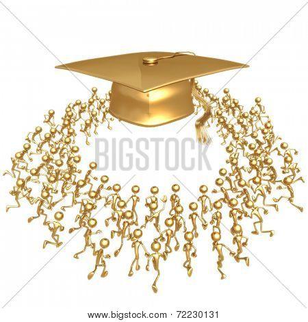 Crowd Running Towards Golden Motarboard Cap Graduation Concept