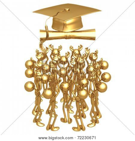 Crowd Reaching For Mortarboard And Diploma Graduation Concept