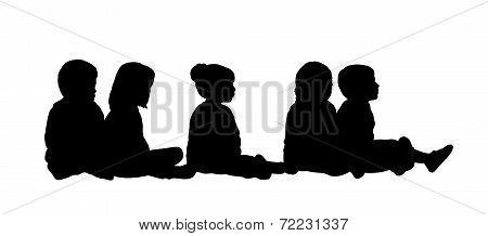 Medium Group Of Children Seated Silhouette 6