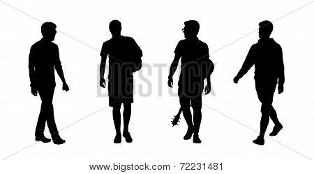 People Walking Outdoor Silhouettes Set 16