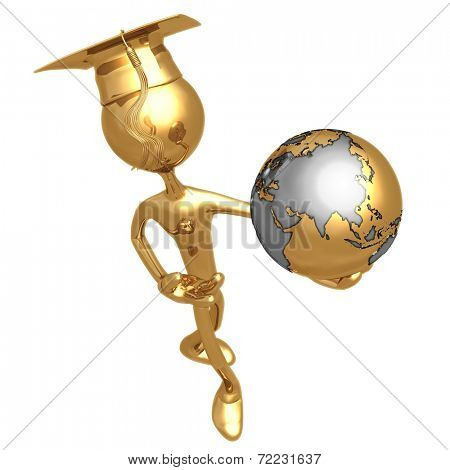 Golden Grad Holding The Earth Graduation Concept