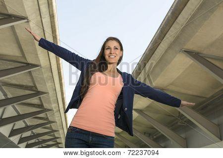 Happy Self Confident Woman In Urban Environment