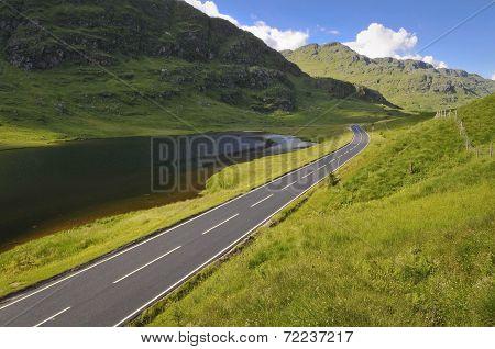 Empty Mountain Road In Scotland