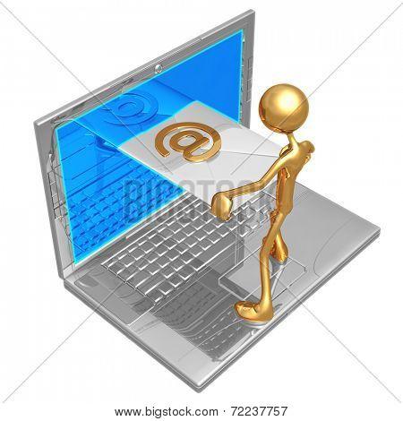 Sending Receiving E-Mail Through Laptop Screen