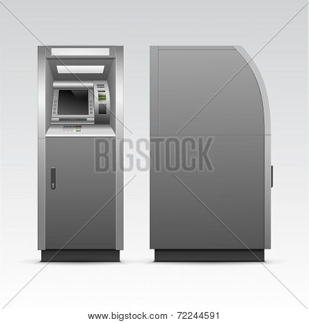 Vector ATM Bank Cash Machine Isolated on Background poster
