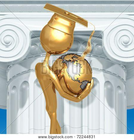 Golden Grad With World In Hands Graduation Concept