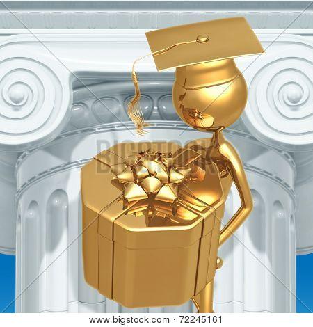 Golden Grad Gift Present Graduation Concept