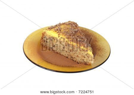 Close Up Shot Of Delicious Cake With Cream Brule Isolated On White