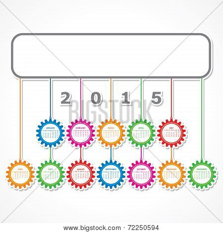 Simple 2015 Calendar design with colorful hanging gears stock vector