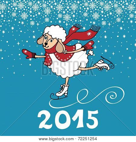 Greeting card.2015 Year of Sheep. Vector Cartoon sheep skate.Snowflakes background. Figures 2015 with snow.Illustration poster