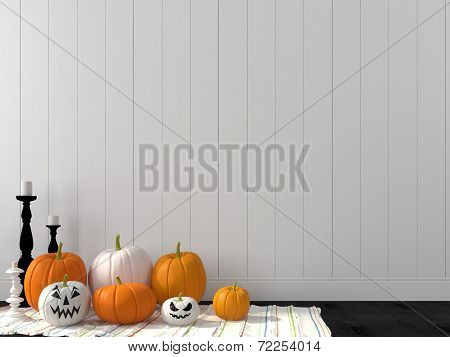 Funny Pumpkin Against A White Wall