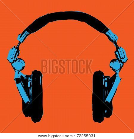 poster of Headphones Pop Art Dj Style Vector for Use