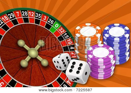 Roulette Of Chip And Bone On An Abstract Background