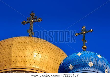 Domes Of The Orthodox Church With Crosses