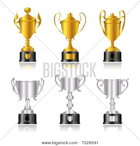 Trophies and Awards - Set 1 - Gold and Silver with Base