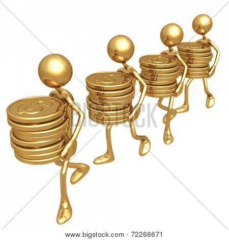 Carrying Stacks Of Gold Dollar Coins