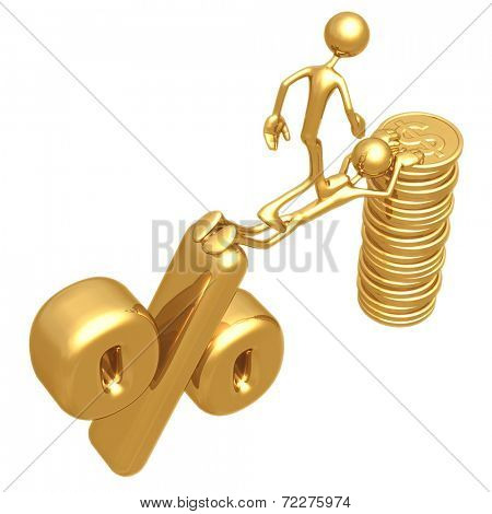 Sacrifice Bridge Between Percentage Symbol And Gold Dollar Coin Stack