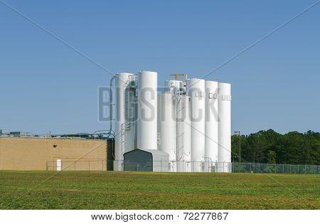 Set Of Industrial Storage Silos