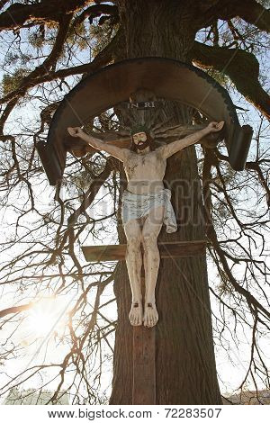Christian Wayside Cross With Jesus Statue