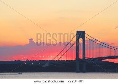 Verrazano Bridge at sunset in New York.