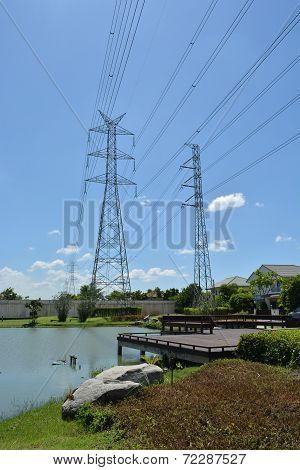 High voltage poles