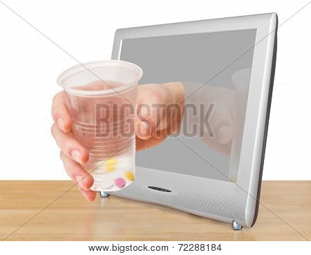Arm With Glass With Pills Leans Out Tv Screen