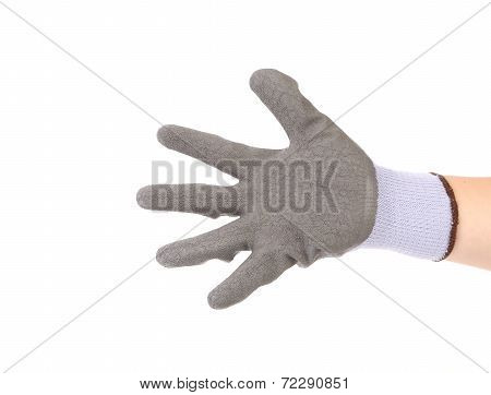 Hand in glove showing five.