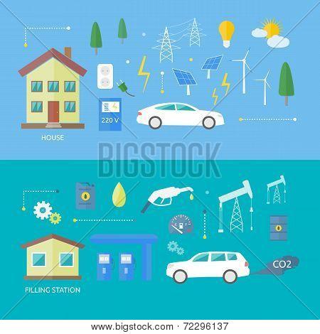 Electric Cars And Petrol Car