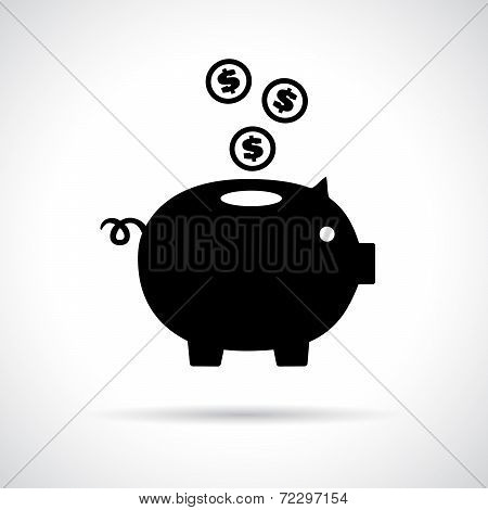 Piggy bank icon with coins falling in.