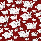 Red and White Bunny Textured Fabric Pattern Background that is seamless and repeats poster