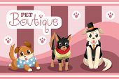 A vector illustration of pet boutique with dogs and cats poster