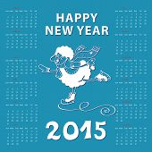 Calendar new Year 2015.Year of Sheep. Vector Cartoon sheep skate.Cyan background.White silhouette.Illustration poster